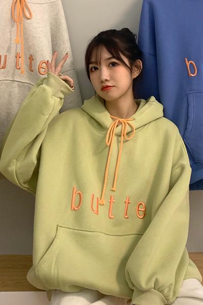 售价加5!实拍实价~2383# 韩版宽松撞色抽绳字母刺绣休闲加绒卫衣