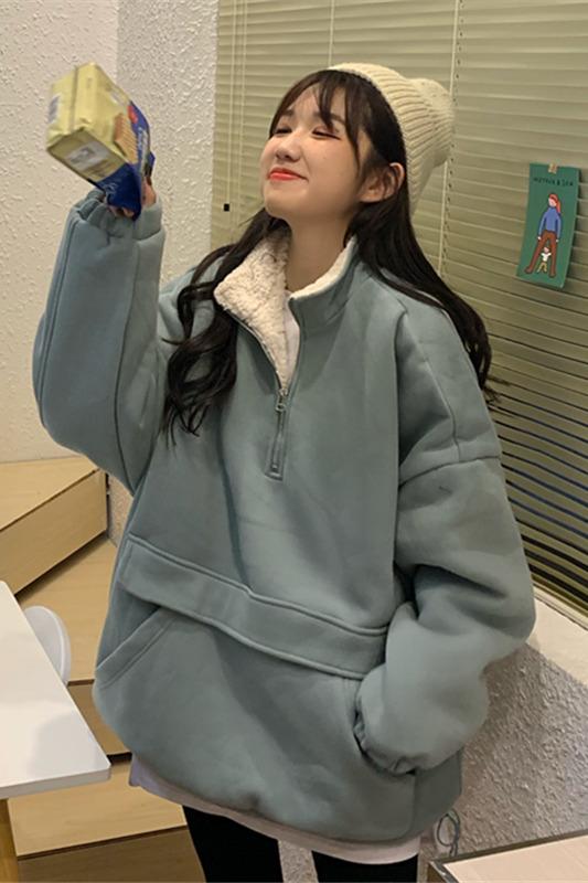 售价加5!实拍实价~2382# 韩版宽松立领拉链袋鼠口袋加绒加厚卫衣