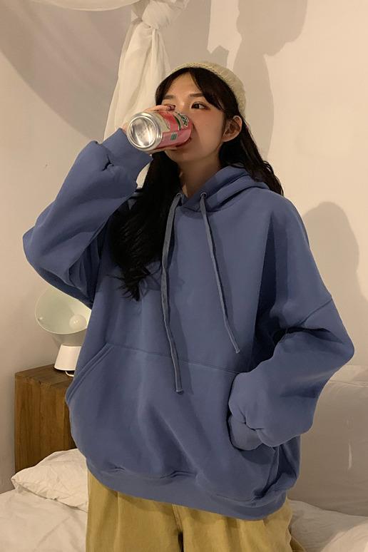 控5!实拍实价~2363# 韩版宽松bf慵懒oversize加绒纯色连帽卫衣