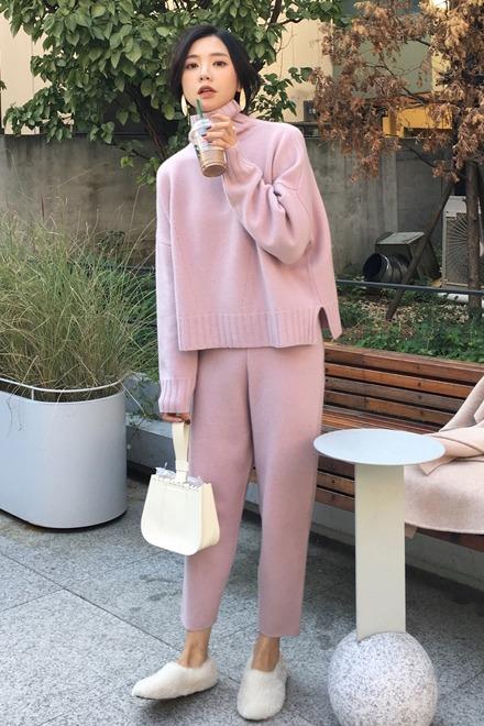 ◆ASM◆2019冬季新款百搭圆领打底衫高领显瘦套头毛衣裤子两件套