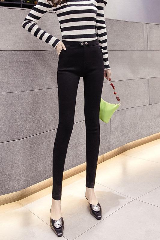 实拍新款魔术黑色打底裤女裤外穿春秋冬加绒小脚高腰显瘦百搭加厚