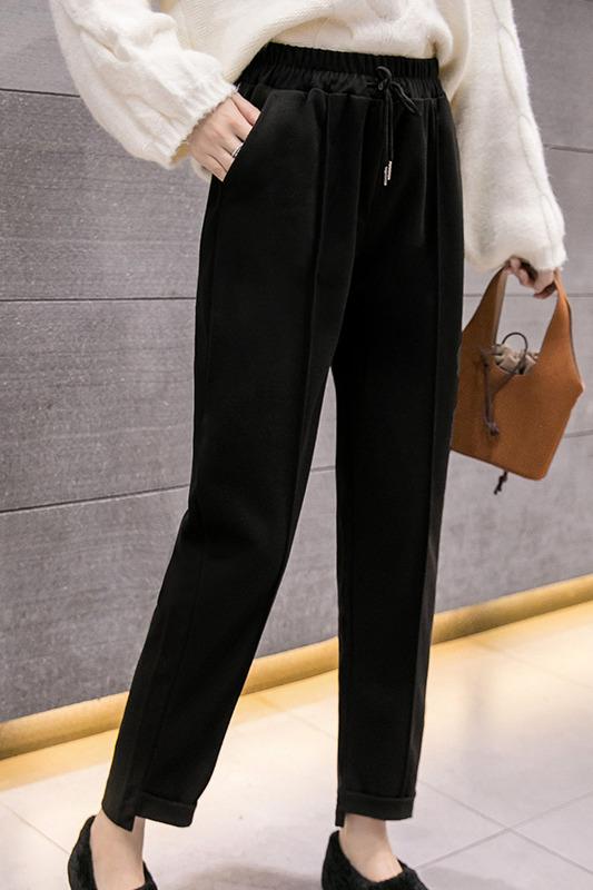 秋冬毛呢哈伦裤女直筒老爹西装烟管裤宽松小脚奶奶萝卜休闲长裤子