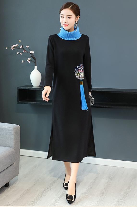 实拍连女裙复古风高领抓毛保暖流苏设计中长款民族风舒适连衣裙女