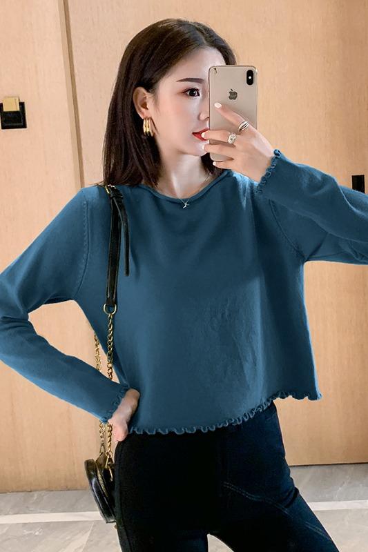 实拍秋冬新款长袖针织套头毛衣女短款宽松韩版显瘦打底衫上衣外穿