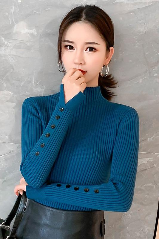 实拍半高领毛衣打底衫女2019秋冬新款内搭修身加厚针织衫长袖上衣