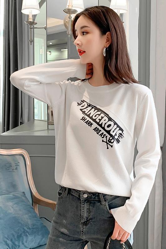 实拍2019秋冬新款字母印花圆领毛衣女套头韩版宽松长袖针织打底衫