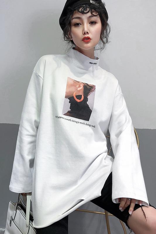 实拍2019时尚冬装加绒加厚新款印花T恤韩版宽松外穿内搭打底衫潮