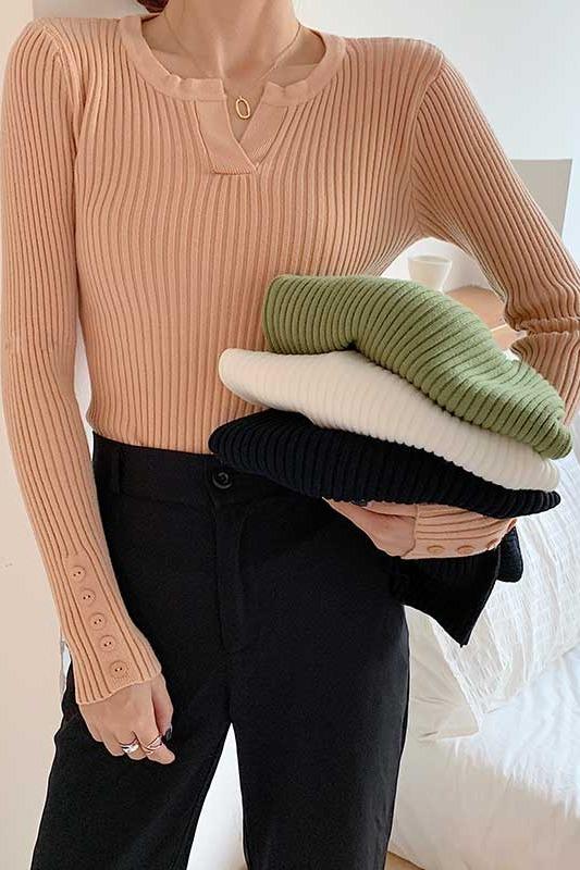 糖果色v领针织衫女长袖初秋冬薄款百显瘦内搭修身打底衫毛上衣