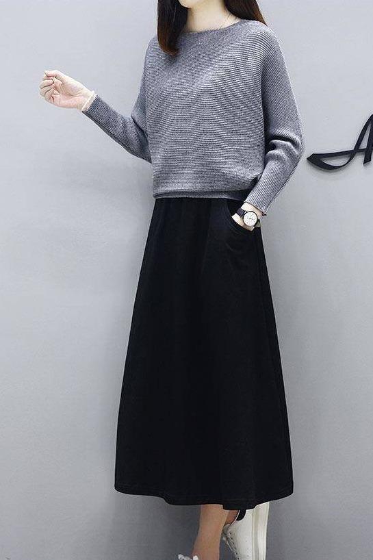 现货套装秋装新款针织毛衣女裙洋气套装休闲宽松大码两件套长裙冬