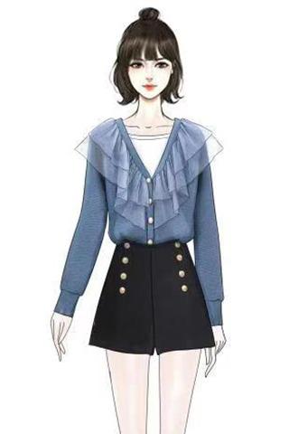 实拍秋冬新款针织开衫时尚套装女洋气矮个子显高排扣绒裤裙两件套