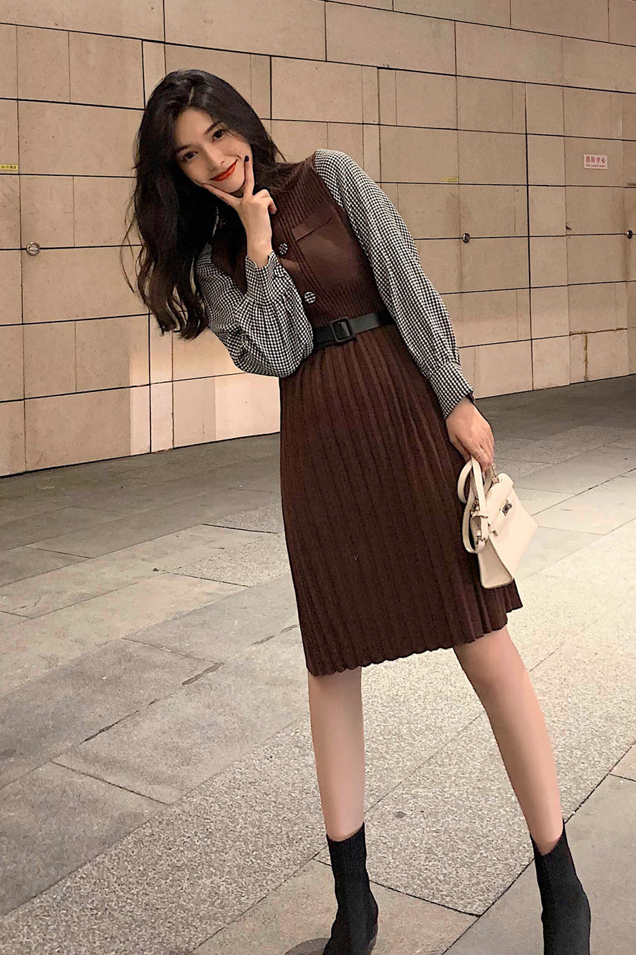 实拍 2019秋冬新款拼接长袖针织连衣裙通勤气质显瘦连衣裙带腰带