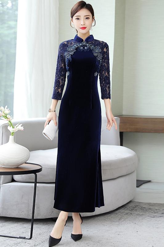 贵夫人加绒加厚金丝绒连衣裙2019冬款气质中年妈妈装高端过膝长裙