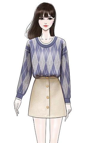实拍新款复古撞色菱格子针织衫加厚宽松毛衣毛呢半身裙短裙套装女