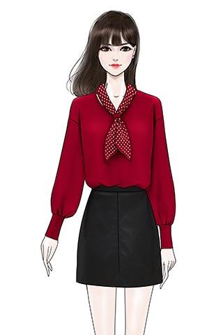实拍波点撞色拼接蝴蝶结领针织衫女甜美显瘦长袖毛衣皮裙短裙套装