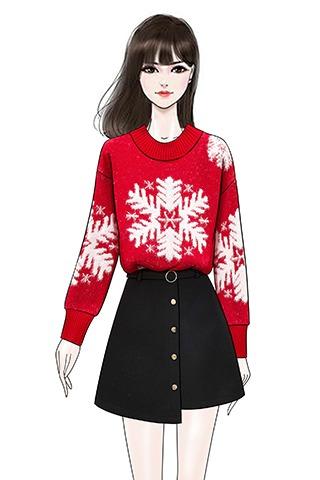 实拍新款圣诞雪花复古红色网红圆领套头加厚毛衣毛呢半身裙套装女