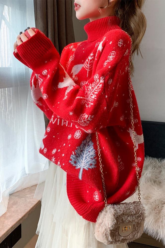 秋冬季宽松外穿复古港味加厚穿搭圣诞超仙高领套头毛衣女慵懒风潮