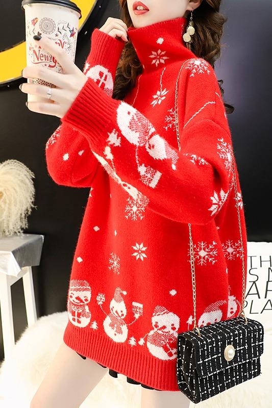 圣诞高领毛衣女2019新款秋冬打底衫宽松韩版慵懒风加厚上衣
