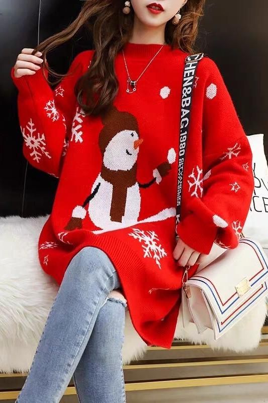 网红新年毛衣女中长款宽松套头秋冬季2019新款小清新很仙的打底衫