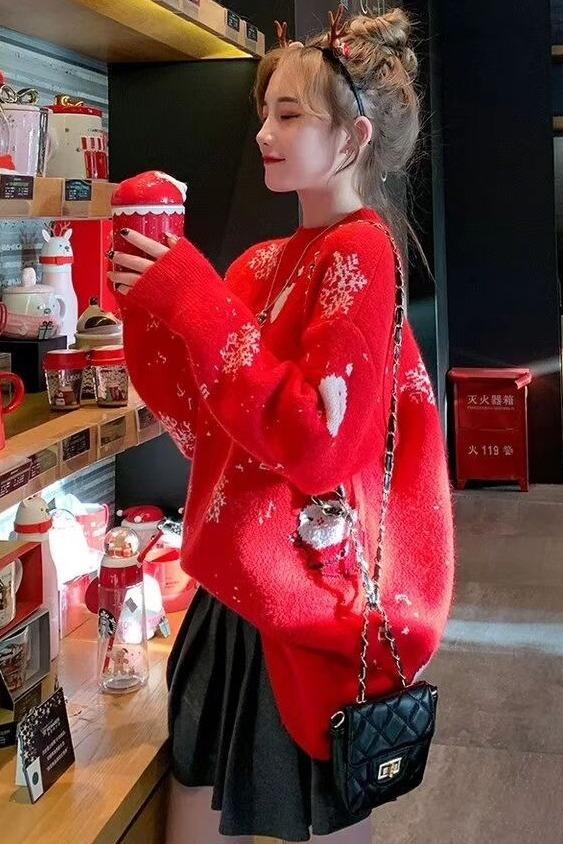 大红色圣诞节毛衣女套头宽松2019新款网冬装红慵懒风上衣加厚