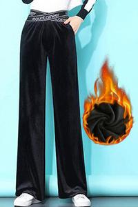 实拍金丝绒阔腿裤女秋冬新款加绒高腰垂感宽松直筒显瘦休闲丝绒裤