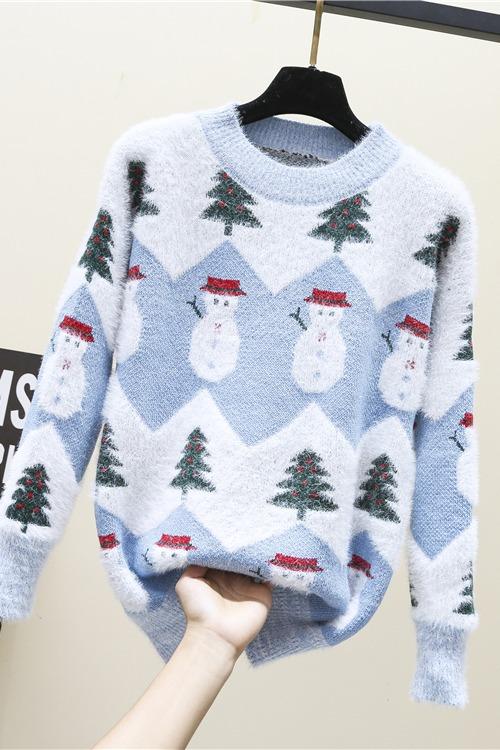可爱圣诞树雪人毛衣女秋冬学生小清新闺蜜装加厚套头仿水貂针织衫