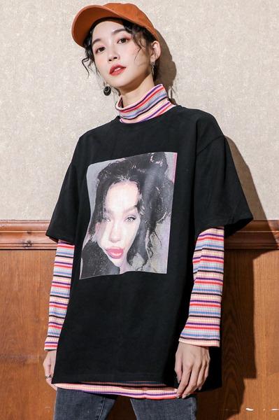 原创设计师2020年春新款棉短袖宽松韩版网红超火洋气t恤女