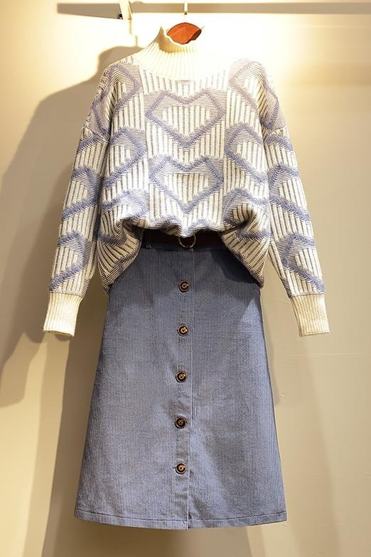 实拍大码女装2019年秋冬装胖妹妹洋气减龄显瘦半身裙两件套装潮