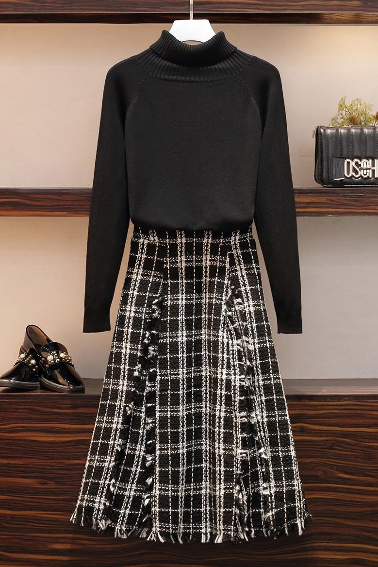 实拍大码女装2019秋冬装新款胖mm时髦洋气减龄高领毛衣两件套装