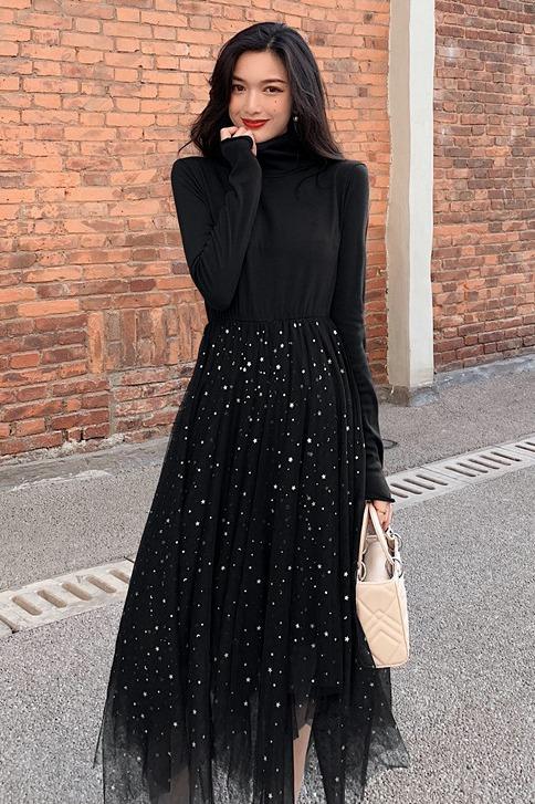 实拍 2019冬季新款亮片网纱拼接针织连衣裙女中长款高腰显瘦裙子