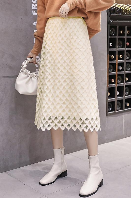 实拍秋冬新款两面穿蕾丝半身裙女高腰显瘦中长款针织包臀A字裙潮