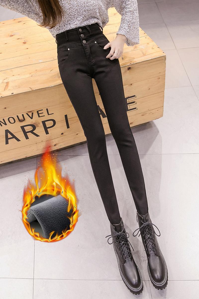 实拍牛仔裤女高腰2019新款加绒冬季紧身铅笔裤修身显瘦弹力小脚裤