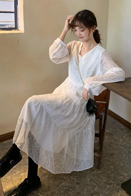 实拍7304# 2020年~ 韩系 温柔白色气质仙女连衣裙~
