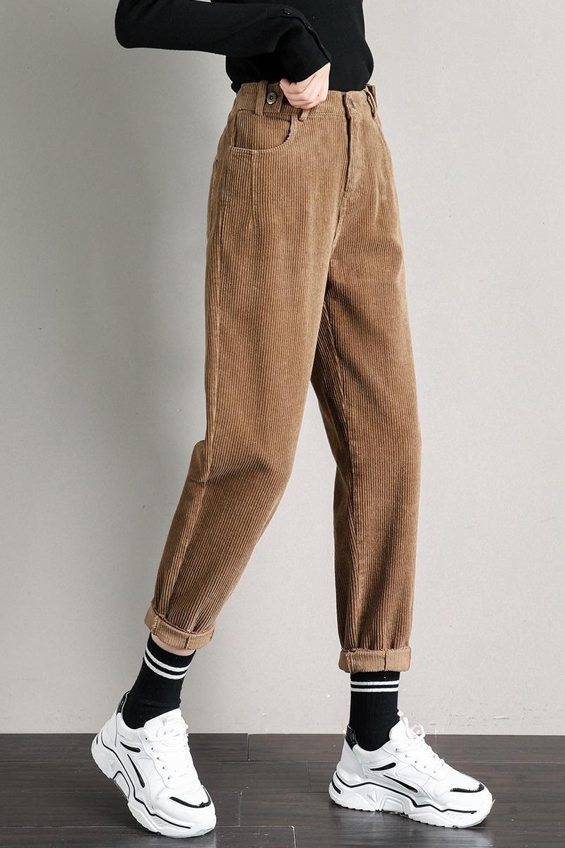 1970-1实拍冬季加绒加厚灯芯绒休闲裤女宽松韩版高腰老爹哈伦裤