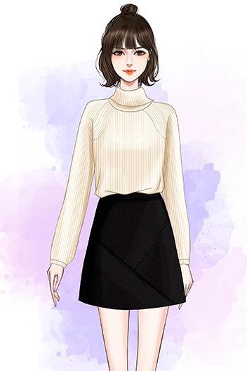 实拍秋冬新款学院风高领套头针织毛衣百搭PU皮裙半身裙套装