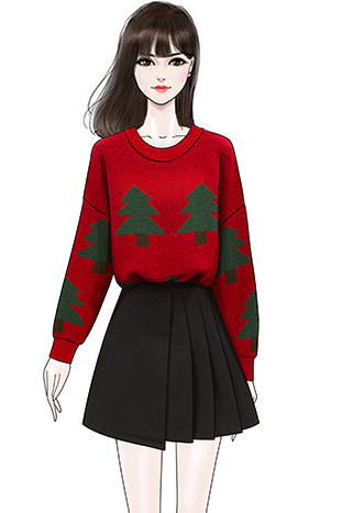 实拍洋气百搭红色圣诞树宽松套头毛衣女黑色不规则显瘦毛呢半身裙