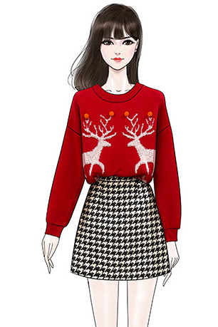 实拍时尚减龄加厚麋鹿圣诞红毛衣女冬+显瘦毛呢格子半身裙套装潮