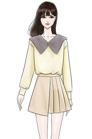 实拍学生百搭娃娃领拼色套头毛衣女+不规则显瘦毛呢半身A字裙套装