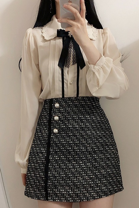 刺绣花朵翻领蝴蝶结领针纯色长袖衬衫 大货已出
