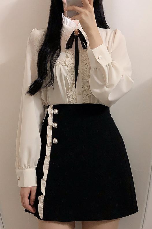 花边领蝴蝶结纯色单排扣长袖衬衫上衣女 已质检