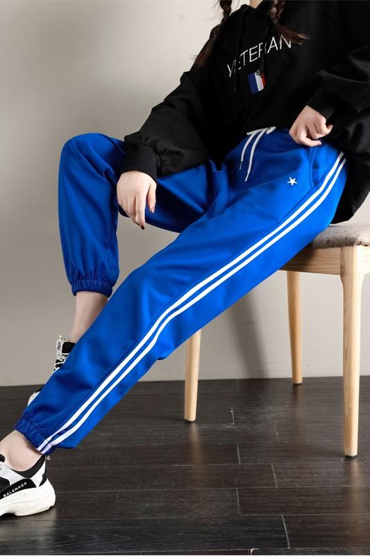 实拍纯棉春秋时尚两道杠阔腿裤女运动裤加大码宽松休闲裤bf风长裤