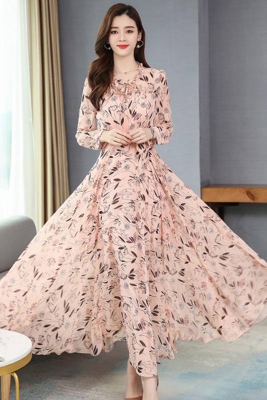 碎花长袖雪纺连衣裙2020春季新款长袖收腰显瘦长款裙子薄款潮