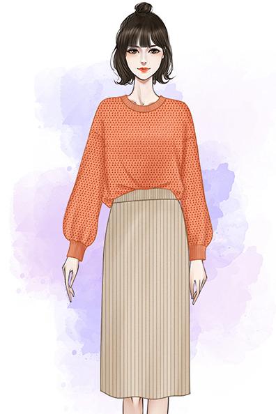 实拍秋冬新款小清新慵懒风毛衣时尚开叉包臀裙套装