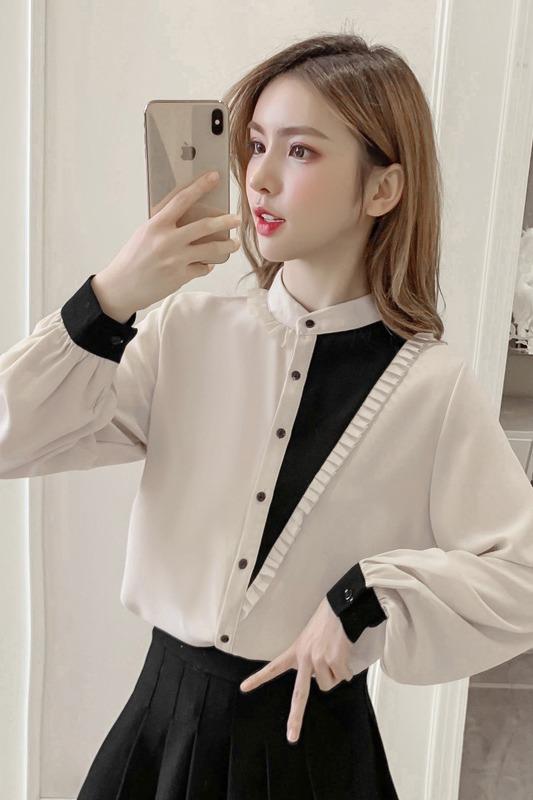实拍2020春季新款设计感小众衬衣立领衬衫长袖雪纺衫上衣女8724-1