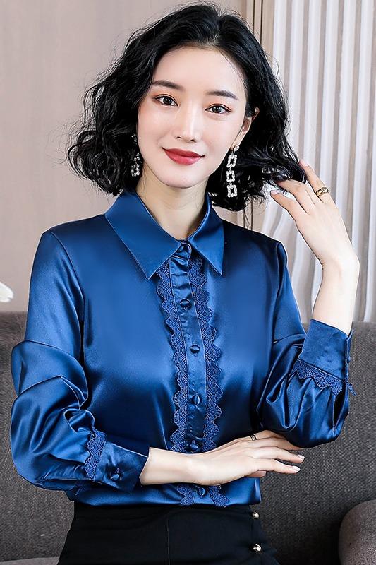重磅真丝衬衫女长袖2019春秋新款气质缎面桑蚕丝洋气蕾丝拼接上衣