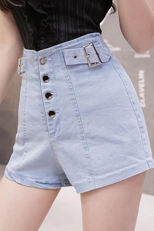 实拍2020春夏新款牛仔短裤女时尚高腰弹力修身短裤排扣包臀热裤