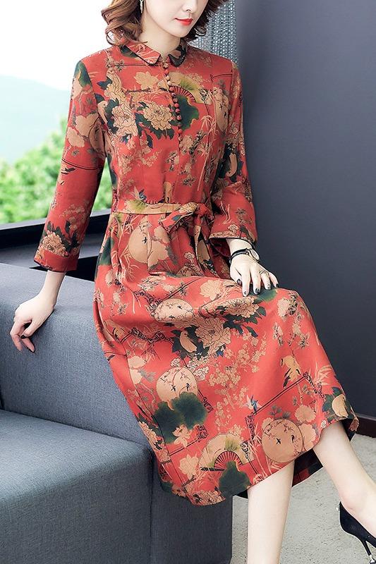 红色真丝连衣裙加厚葡萄尼香云纱改良旗袍长袖2020春夏新款妈妈装