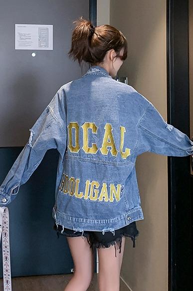 刺绣牛仔外套女2020新款背后绣花字母图案破洞上衣韩版宽松百搭潮