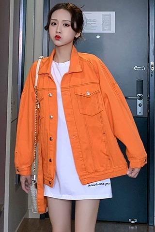 2020春装新款橙色潮牌牛仔外套女潮夹克宽松B情侣装春秋学院风