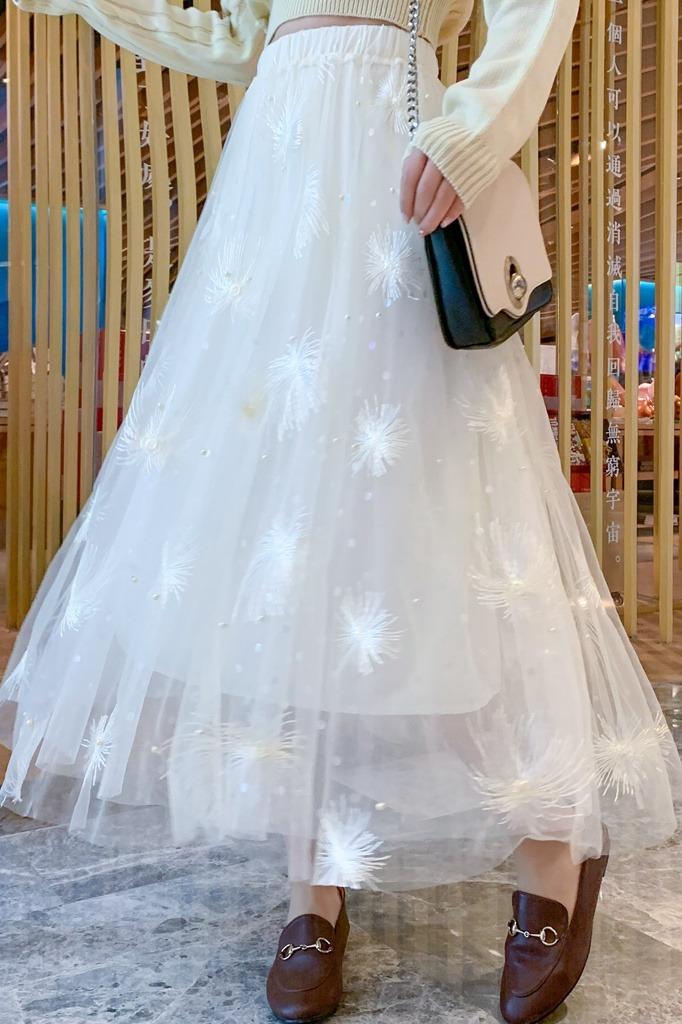仙女裙百搭刺绣珍珠半身裙秋冬高腰显瘦长款裙子超仙温柔风连衣裙