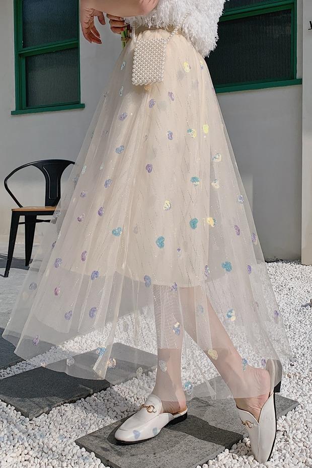 百搭超仙的网纱半身裙女秋冬2020新款高腰显瘦中长款韩版宽松裙子